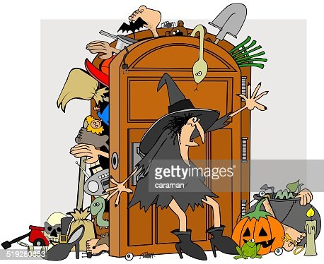 Kleiderschrank comic  Hexen Wandschrank Stock-Illustration | Thinkstock