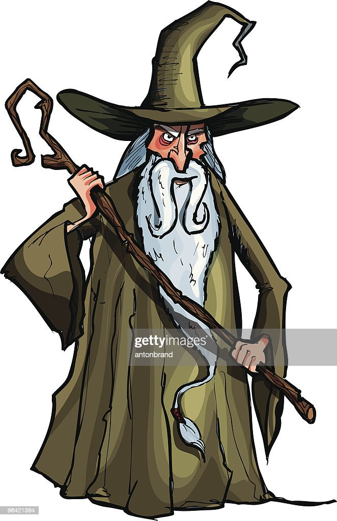 Wizard with a staff : Vector Art