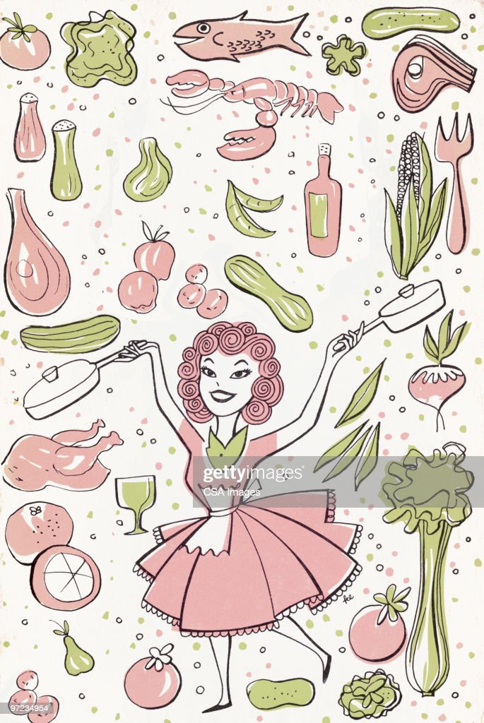 Woman and Food : Stock Illustration