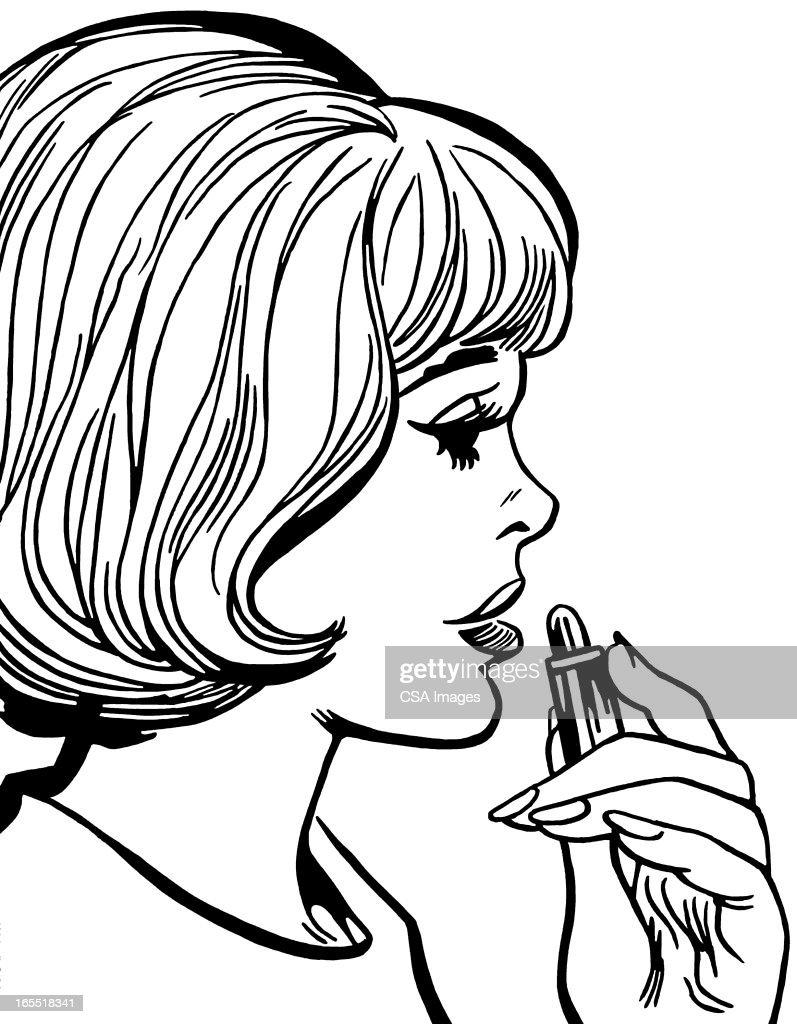 Woman Applying Lipstick : Stock Illustration
