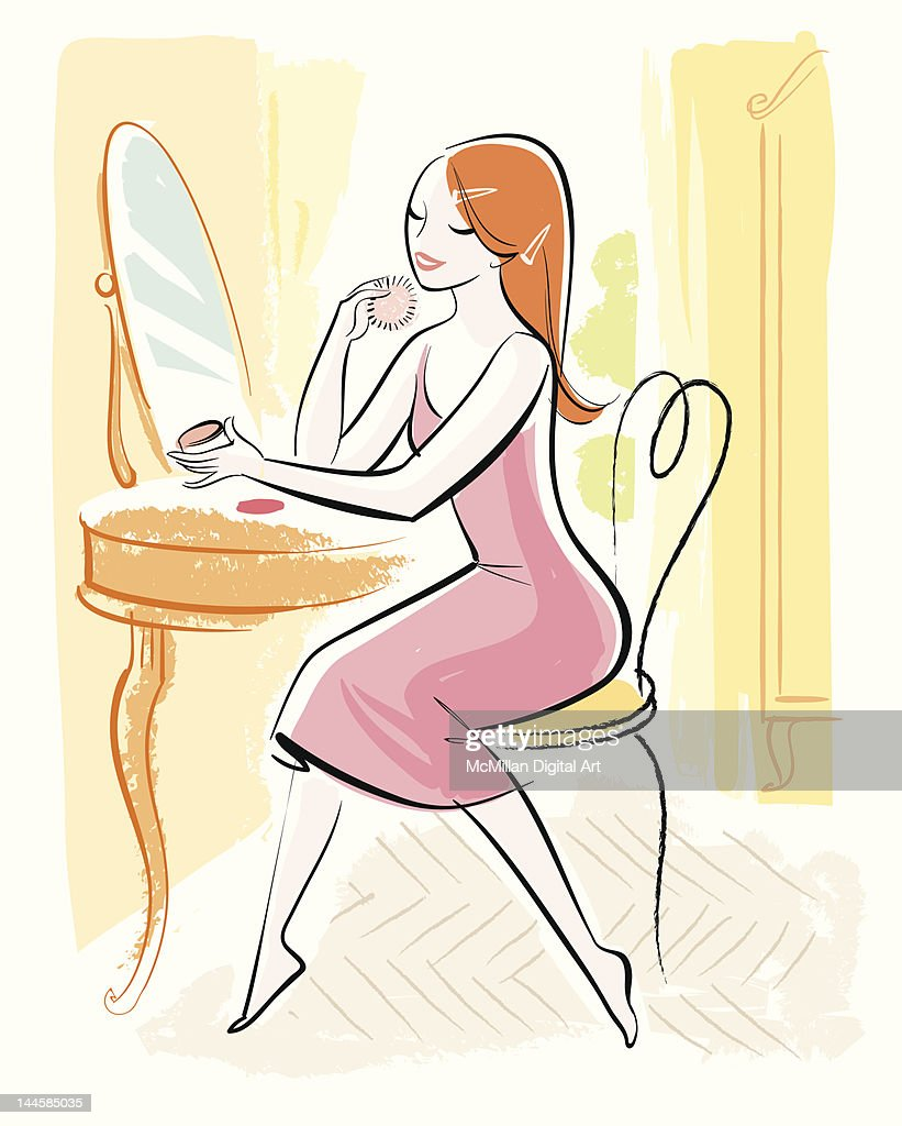 Woman applying makeup in mirror : Vector Art