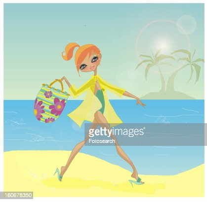 Woman arriving on tropical beach with her beach bag : Stock-Illustration