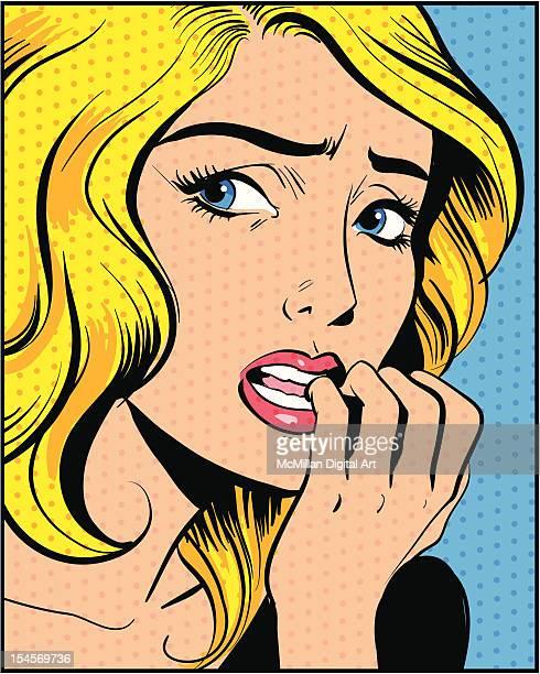 Woman biting fingernails