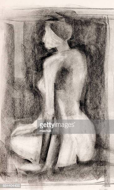 woman  body study charcoal drawing