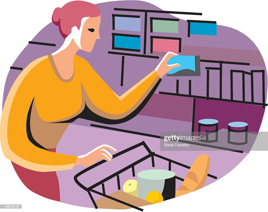 Woman Buying Groceries : Stock Illustration
