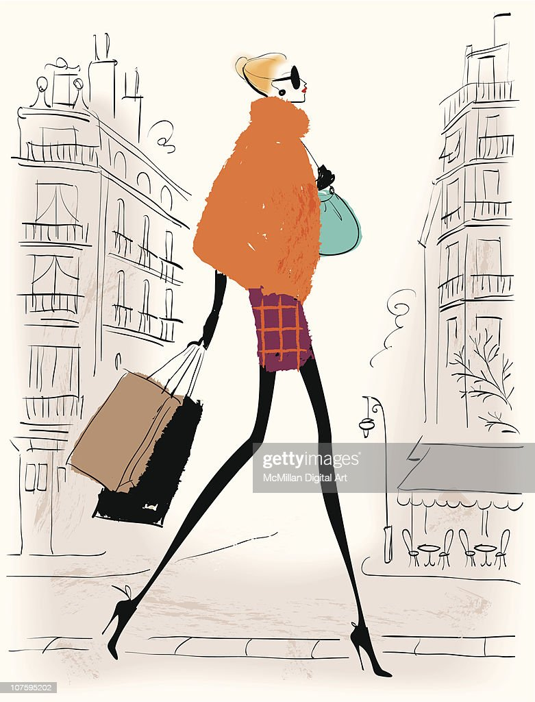 Woman carrying shopping bags : Vector Art