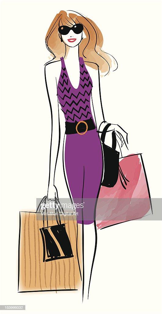 Woman carrying shopping bags : Vector Art