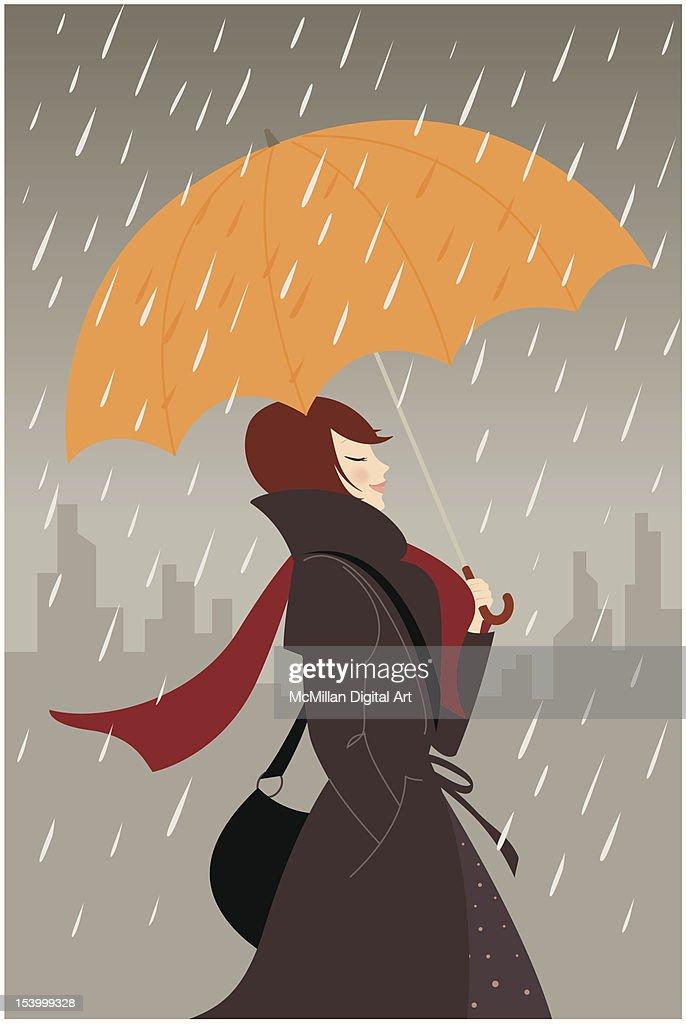Woman carrying umbrella in rain : Vector Art