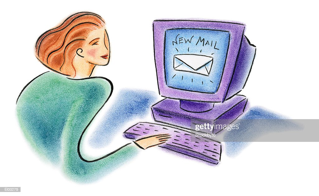 Woman checking e-mail : Stock Illustration