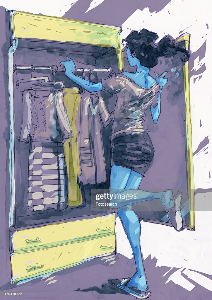 Woman choosing clothes from her wardrobe : Stock Illustration