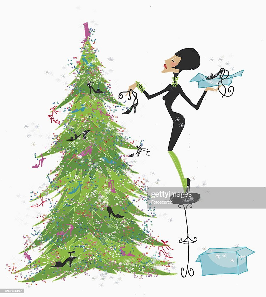 Woman decorating Christmas tree with shoes : Stock Illustration