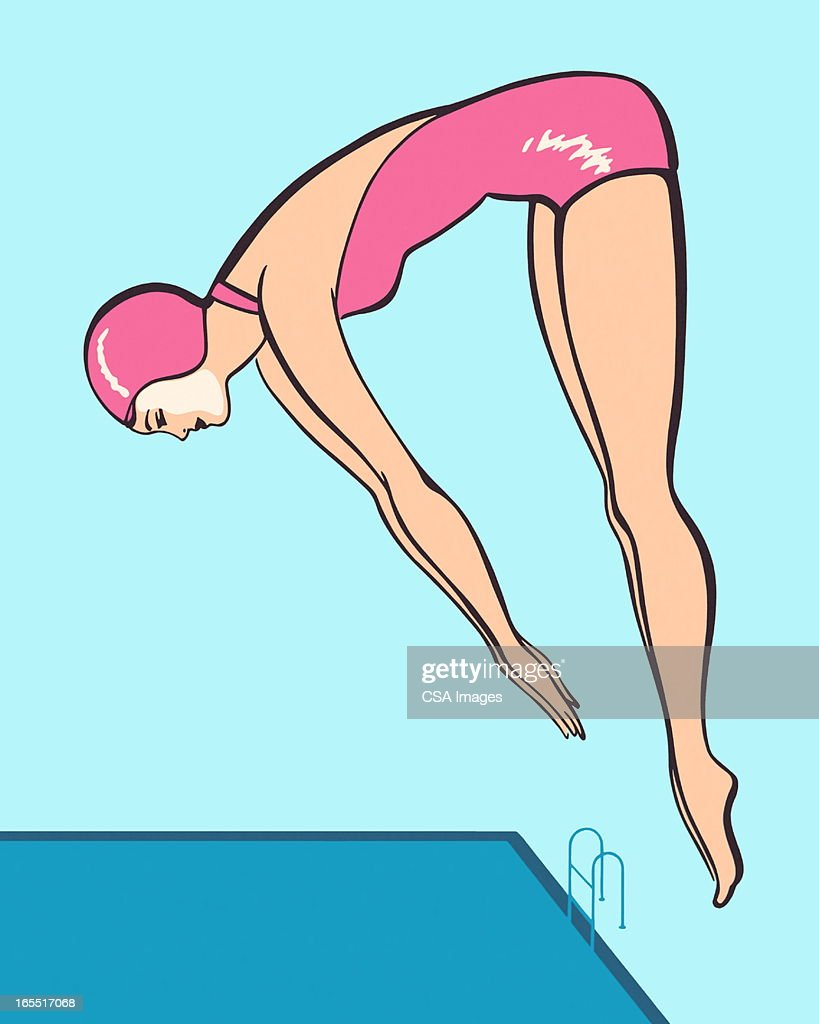 Woman Diving : Stock Illustration