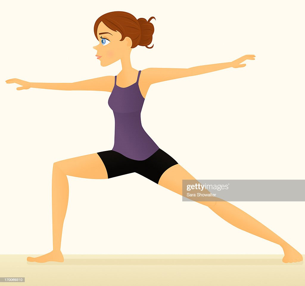 A woman doing the warrior yoga pose : Stock Illustration