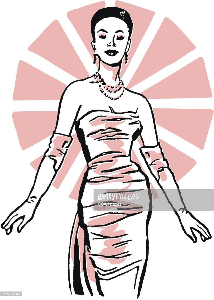 Woman Dressed Up : Stock Illustration