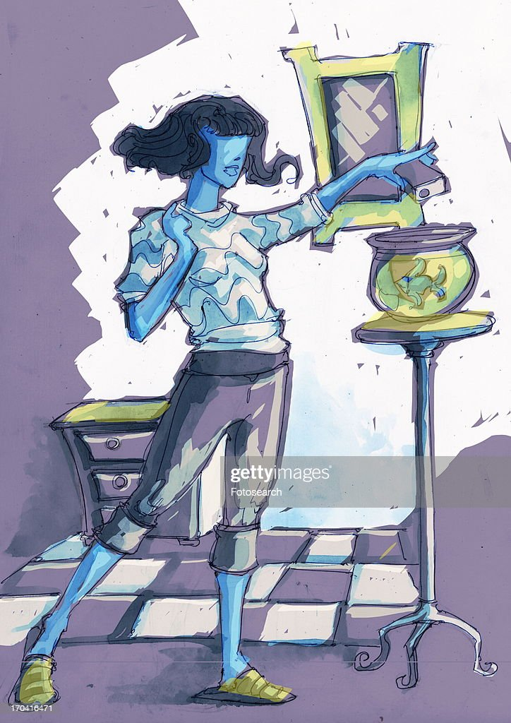 Woman feeding her fish in the bowl : Stock Illustration