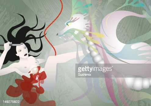 A woman fighting a dragon : Stock Illustration