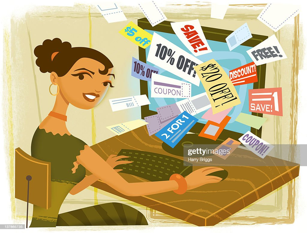 Woman finding coupons online. : Stock Illustration