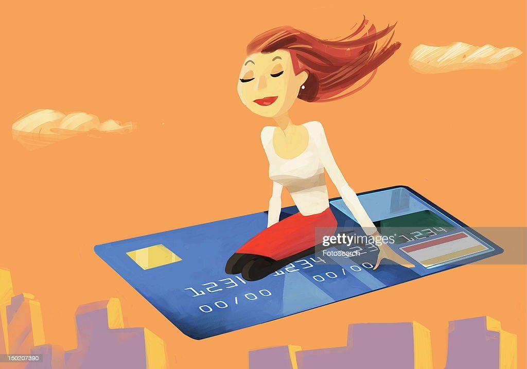 Woman flying on a credit card : Stock Illustration