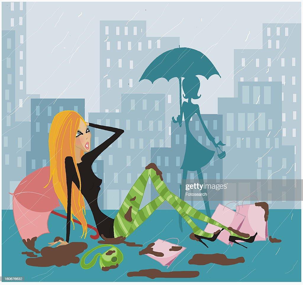 Woman having fallen in a heap in a rainstorm : Stock Illustration