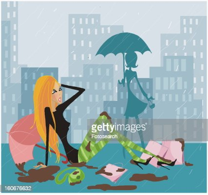 Woman having fallen in a heap in a rainstorm : Stock Illustration