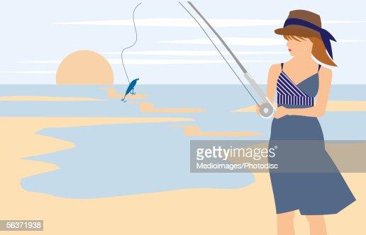 Woman holding a fishing rod : Stock Illustration