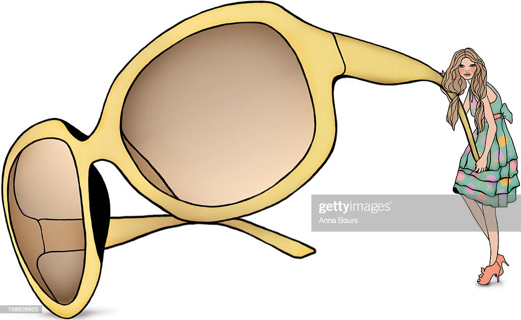 A woman holding a giant pair of sunglasses : Stock Illustration