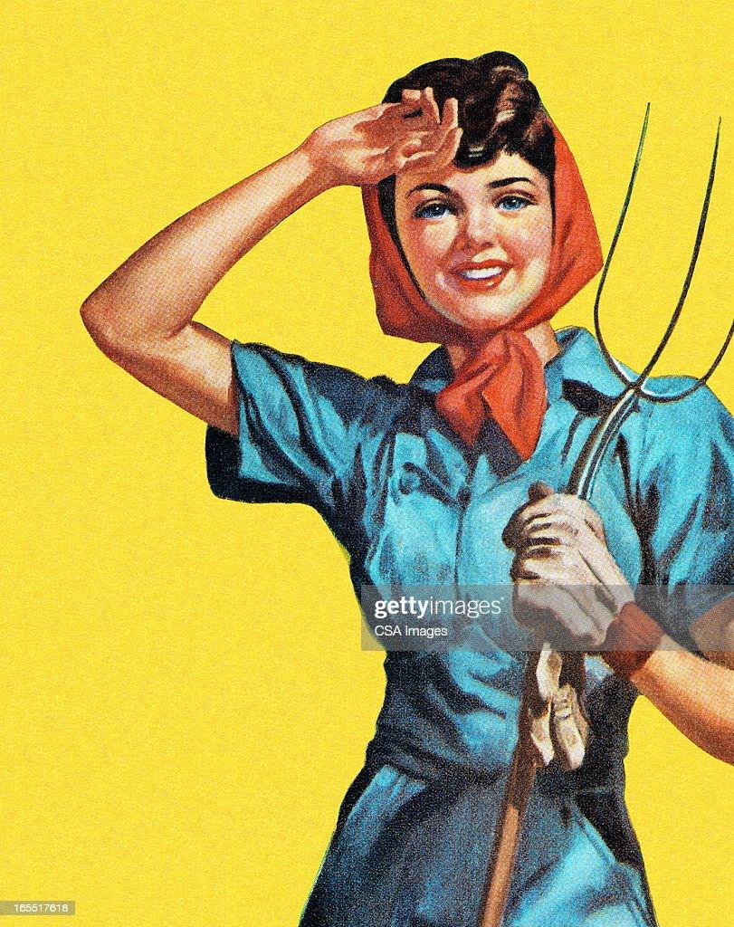 Woman Holding a Pitchfork : Stock Illustration