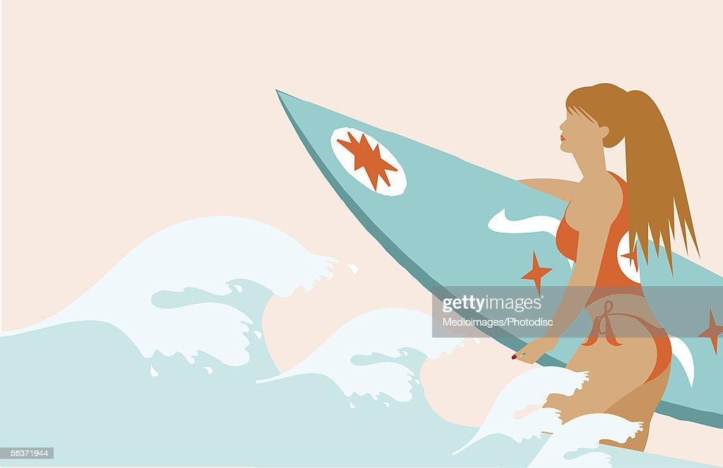 Woman holding a surfboard : Stock Illustration