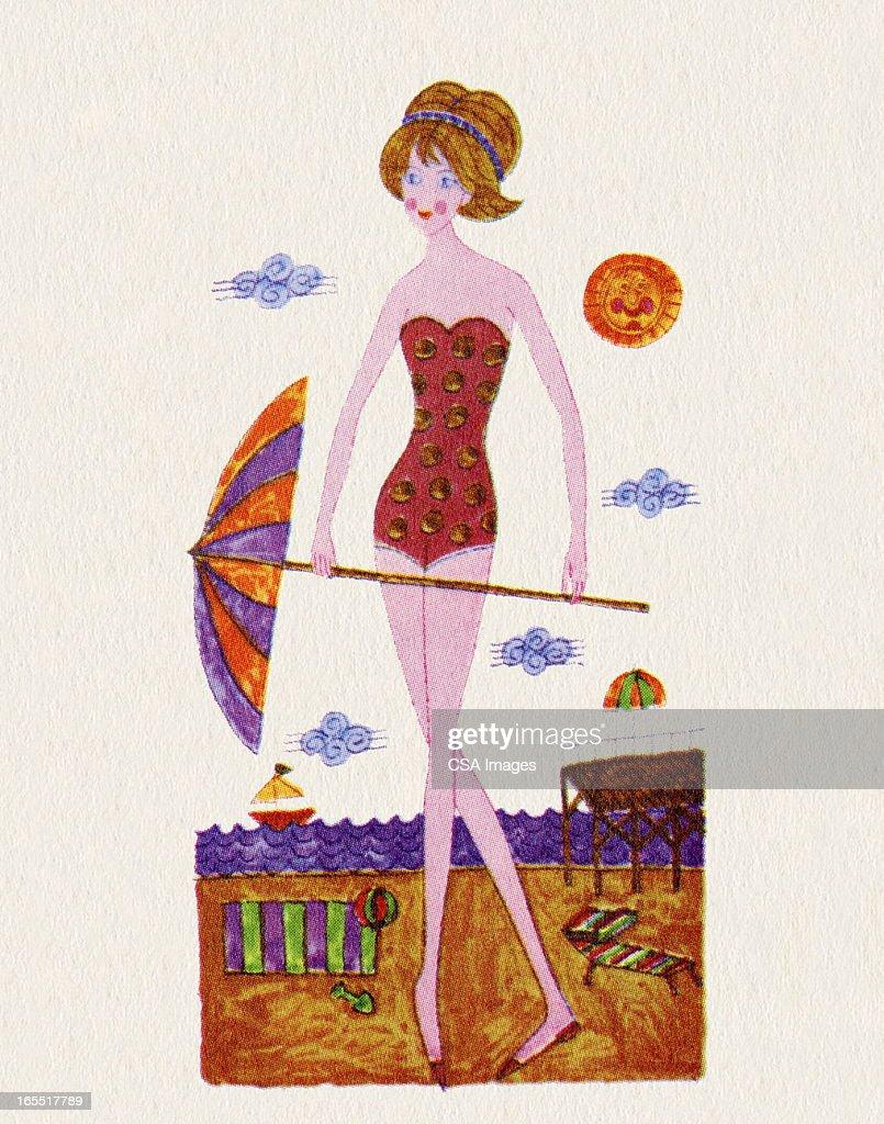 Woman Holding an Umbrella on the Beach : Stock Illustration