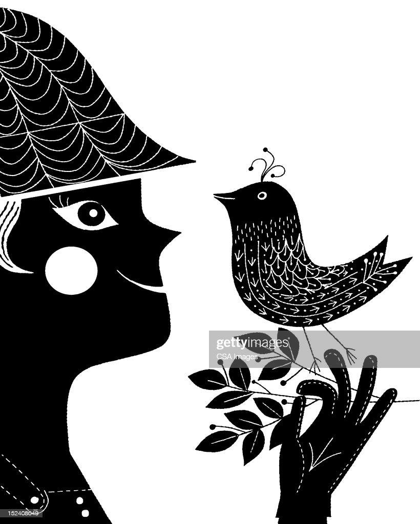 Woman Holding Bird on Branch : Stock Illustration