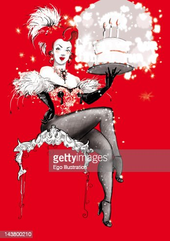 Woman holding birthday cake : Stock Illustration