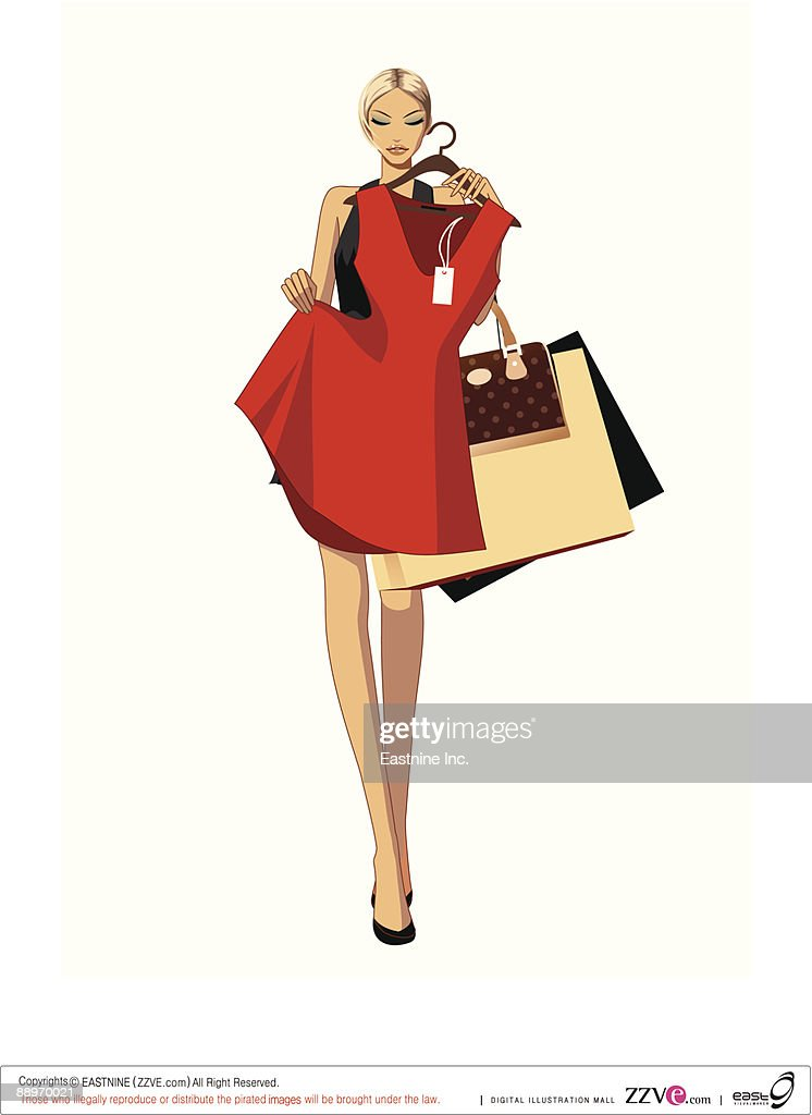 Woman holding dress and shopping bags : Vector Art