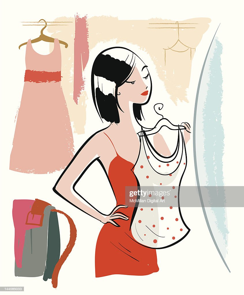 Woman holding shirt up in front of mirror : Vector Art