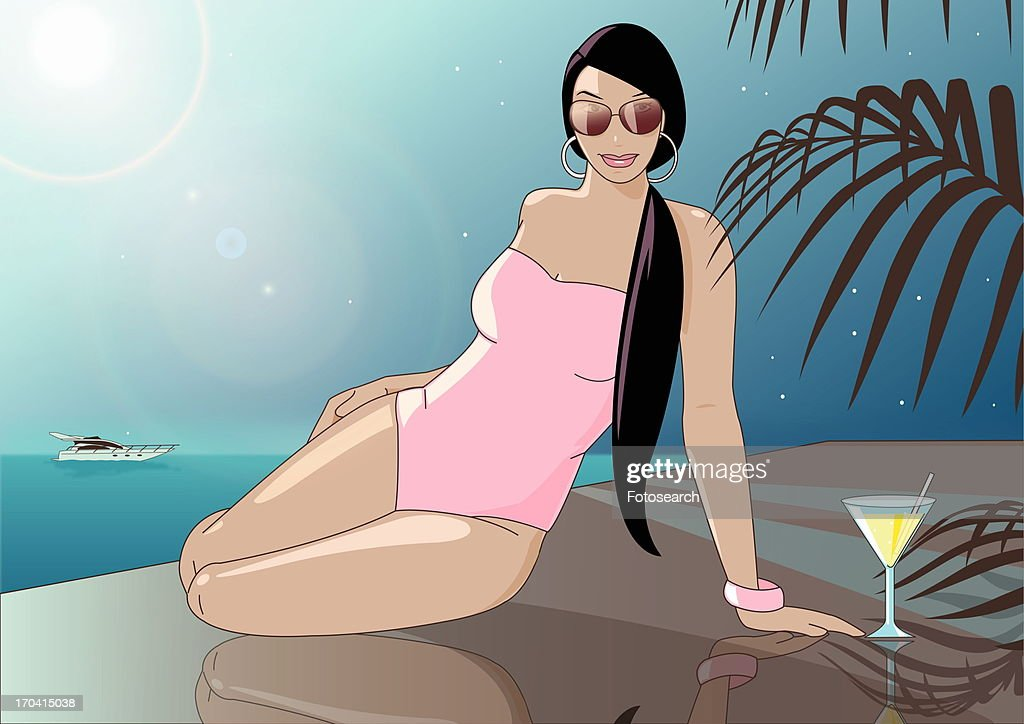 Woman in a pink bathing suit and sunglasses lounging by the water with a cocktail : Stock Illustration