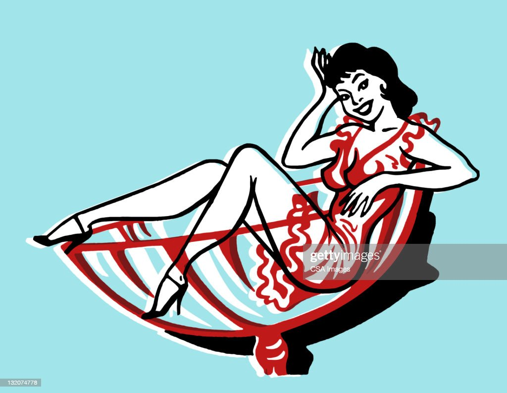 Woman in Cocktail Glass : Stock Illustration
