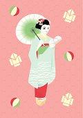 Woman in Kimono, Painting, Illustration, Illustrative Technique, Side View