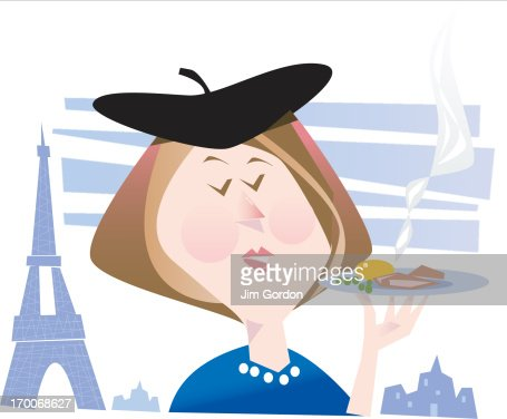 A woman in Paris holding a plate of food : Stock Illustration