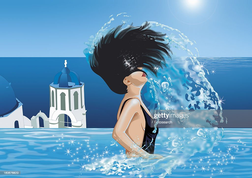 Woman in pool flipping her hair out of the water : Stock Illustration