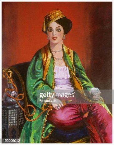 Woman in traditional dress smoking nargile : Stock Illustration