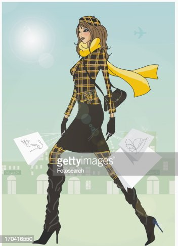 Woman in warm plaid clothing walking with shopping bags : Stock Illustration