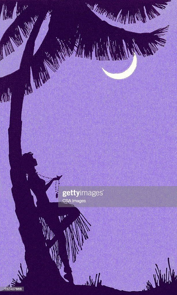 Woman Leaning Against Palm Tree : Stock Illustration