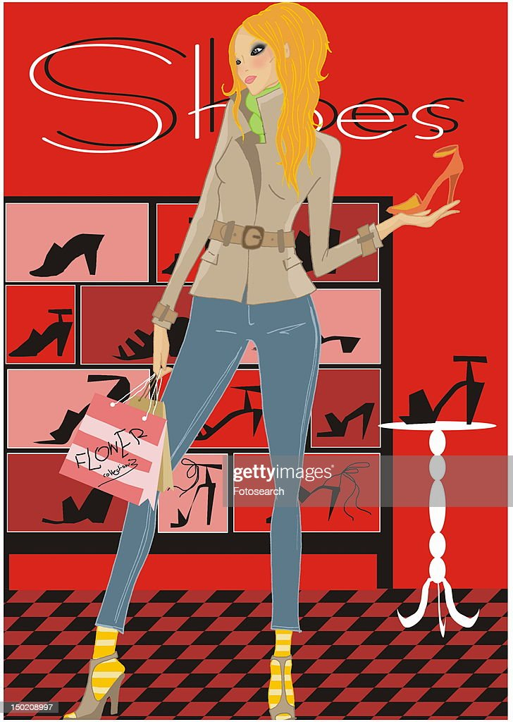 Woman looking at shoes in a shoe store : Stock Illustration