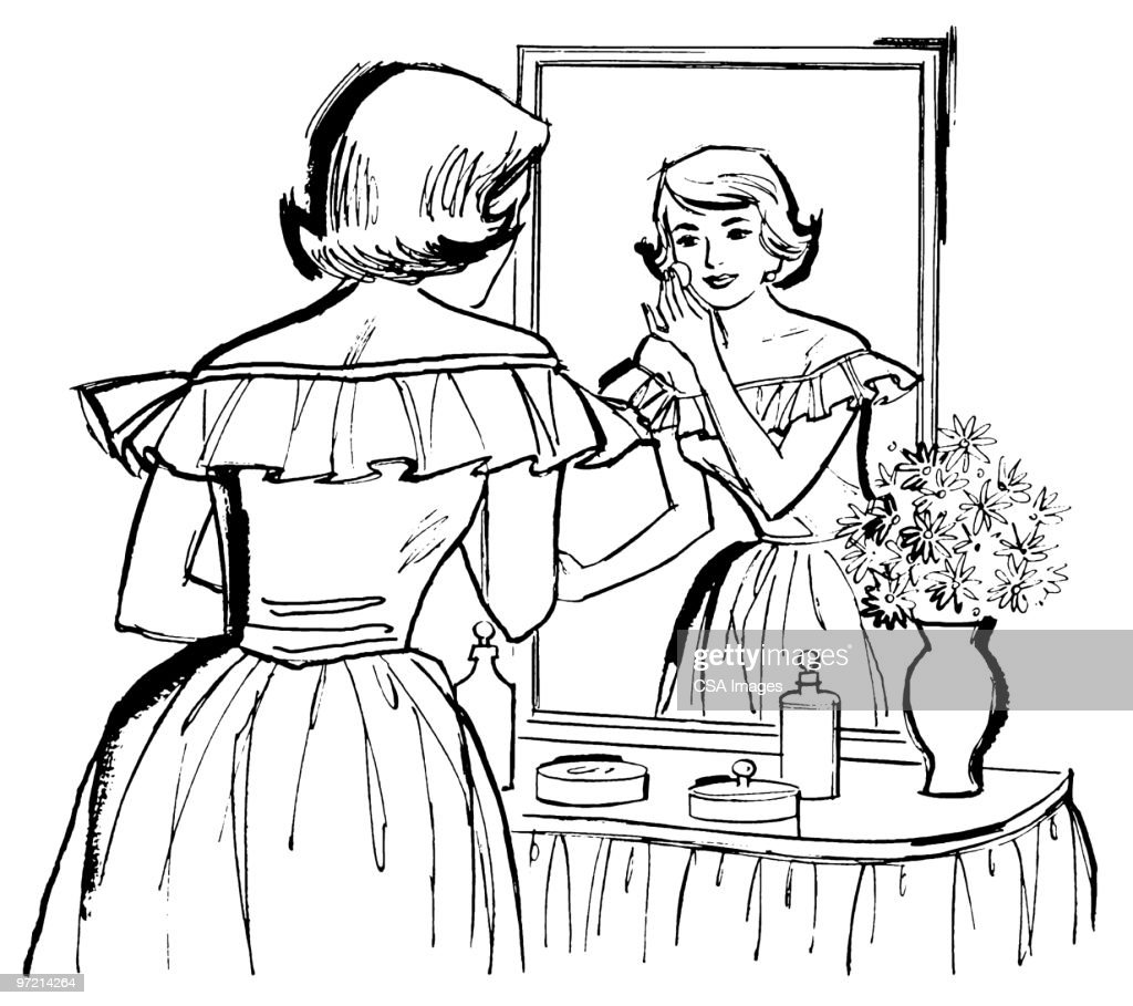 man looking in mirror drawing. woman looking in mirror : stock illustration man drawing e