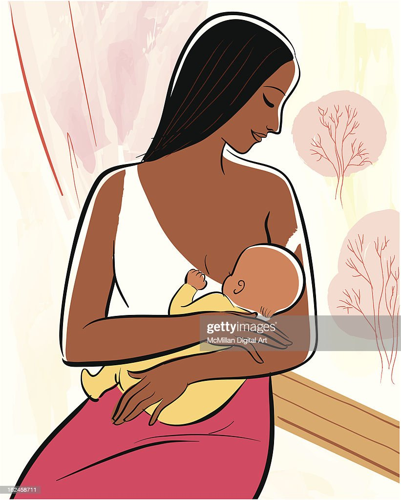 Woman nursing baby : Vector Art