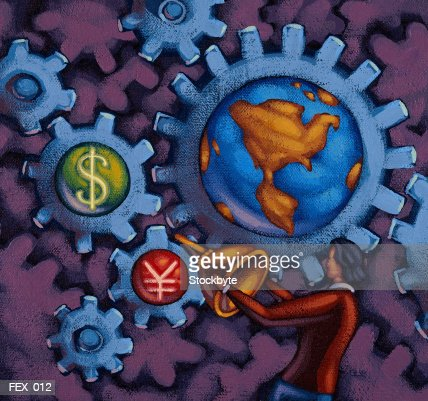 Woman oiling gears representing Earth, dollar sign and yen sign : Stock Illustration