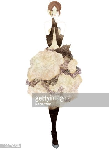 A woman on a fashion runway : Stock Illustration