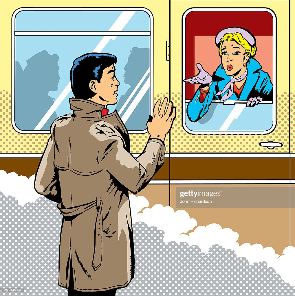Woman on a Passenger Train Waving Goodbye to a Man : Stock Illustration