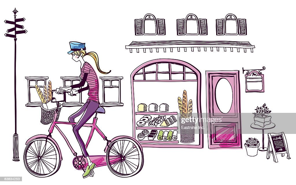 Woman on bicycle outside bakery : Stock Illustration