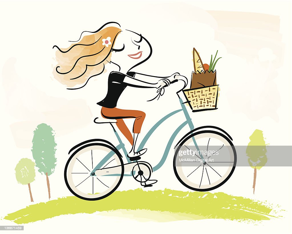 Woman on bicycle with basket of groceries : Vector Art