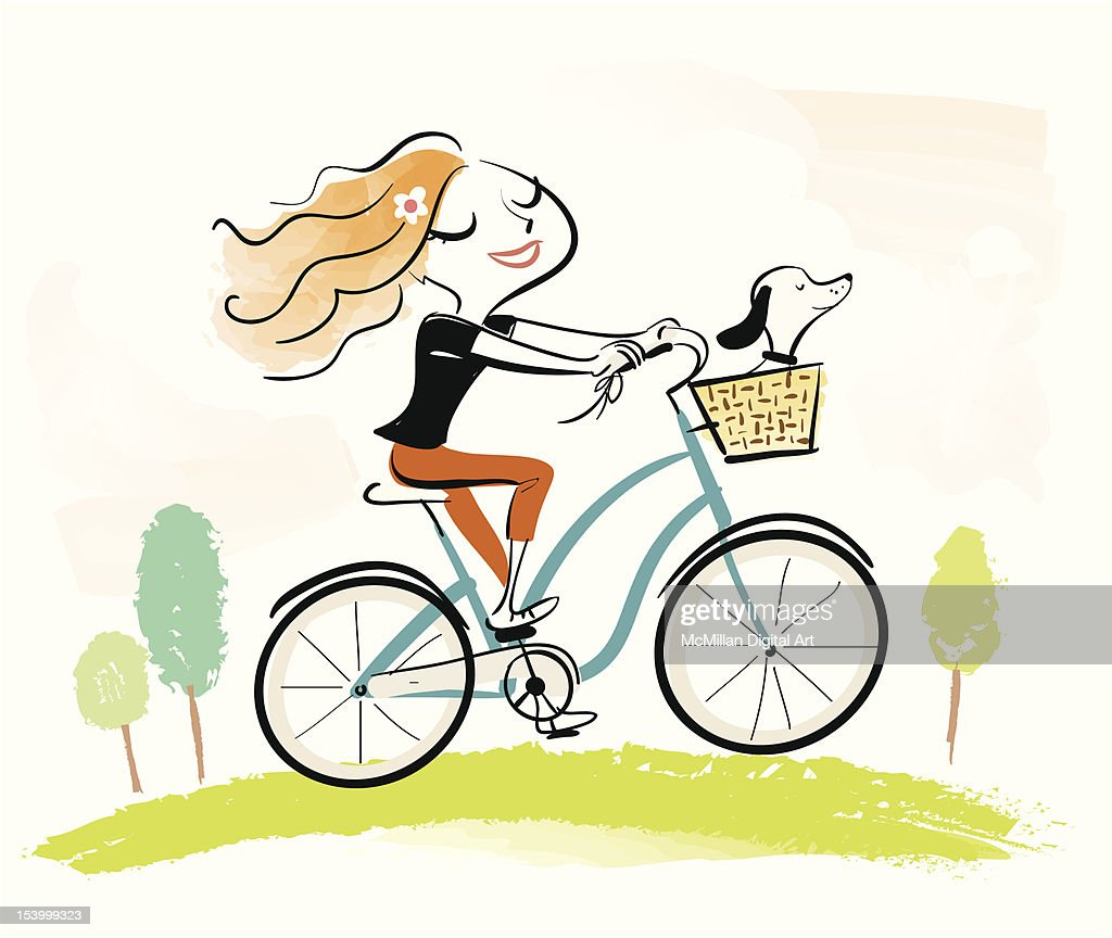 Woman on bicycle with dog in basket : Vector Art